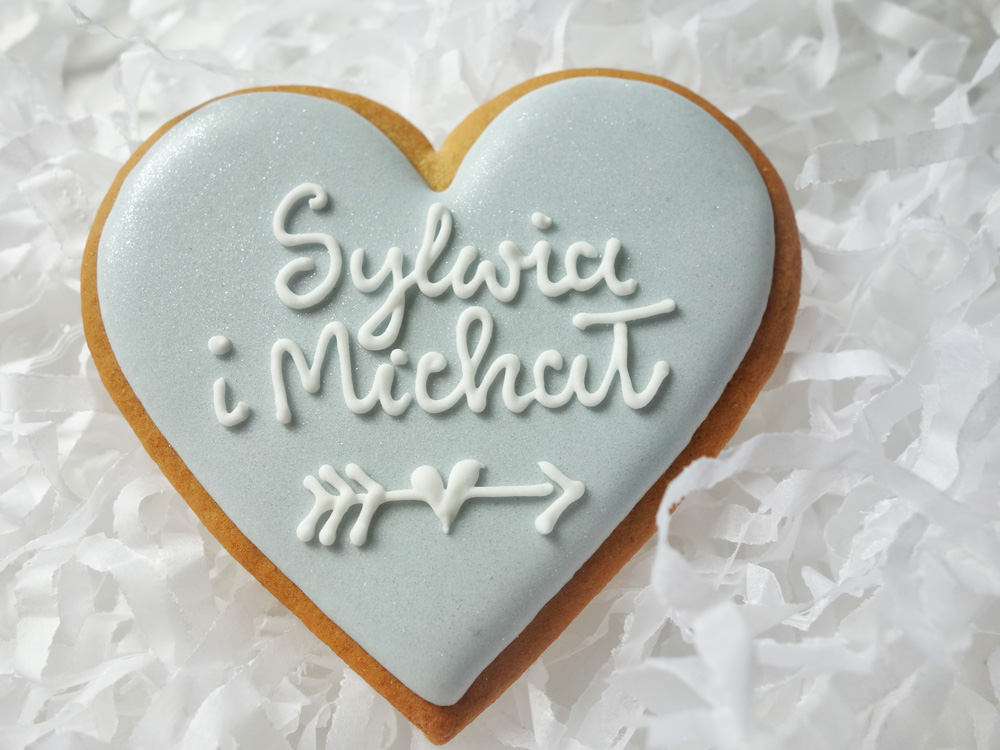 Serce Srebrne z imionami i datą ślubu